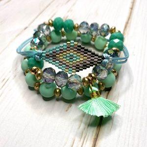 Mint Green Seed Bead And Tassel Bead Bracelets